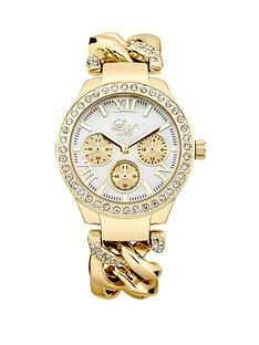 little-mistress-mother-of-pearl-dial-stone-set-yellow-gold-tone-chain-link-bracelet-ladies-watch