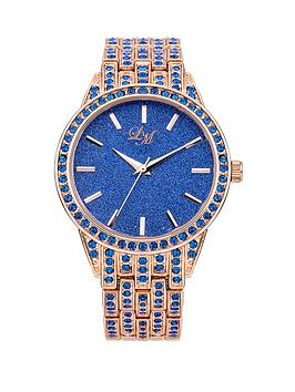 Little Mistress Glitter Dial Blue Stone Set Rose Gold Tone Bracelet Ladies Watch
