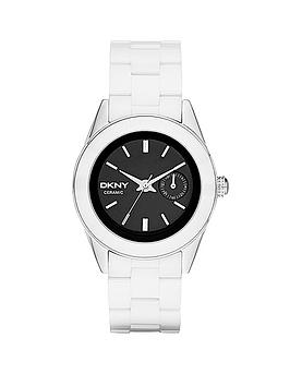 DKNY Jitney Black Dial and White Ceramic Ladies Watch