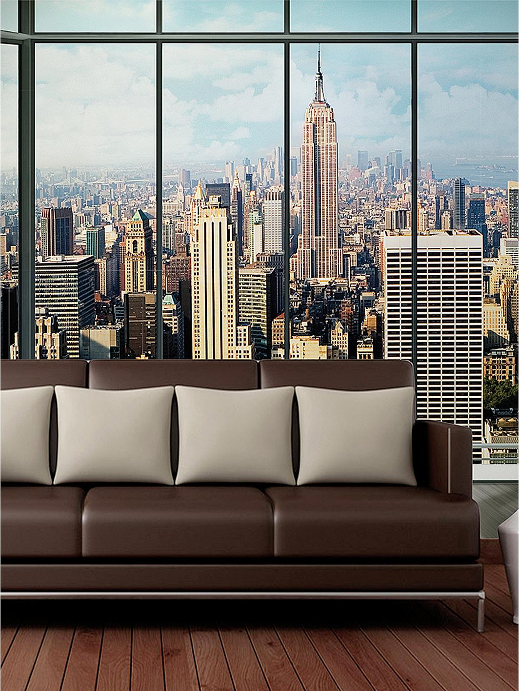 1wall new york skyline window wall mural. Black Bedroom Furniture Sets. Home Design Ideas