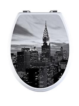 AQUALONA New York City Toilet Seat Black White
