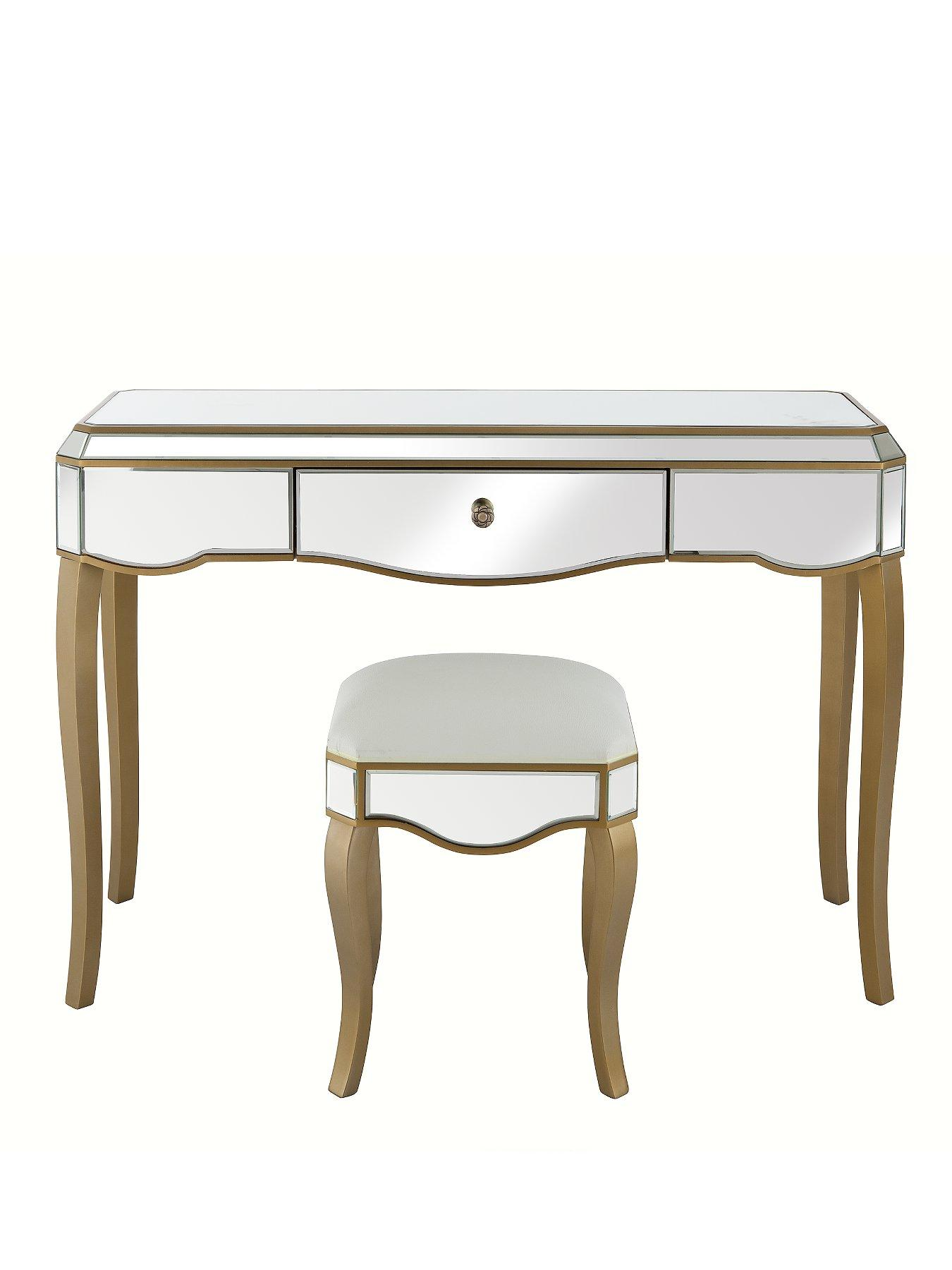 New Vintage Ready Assembled Mirrored Dressing Table and Stool Set