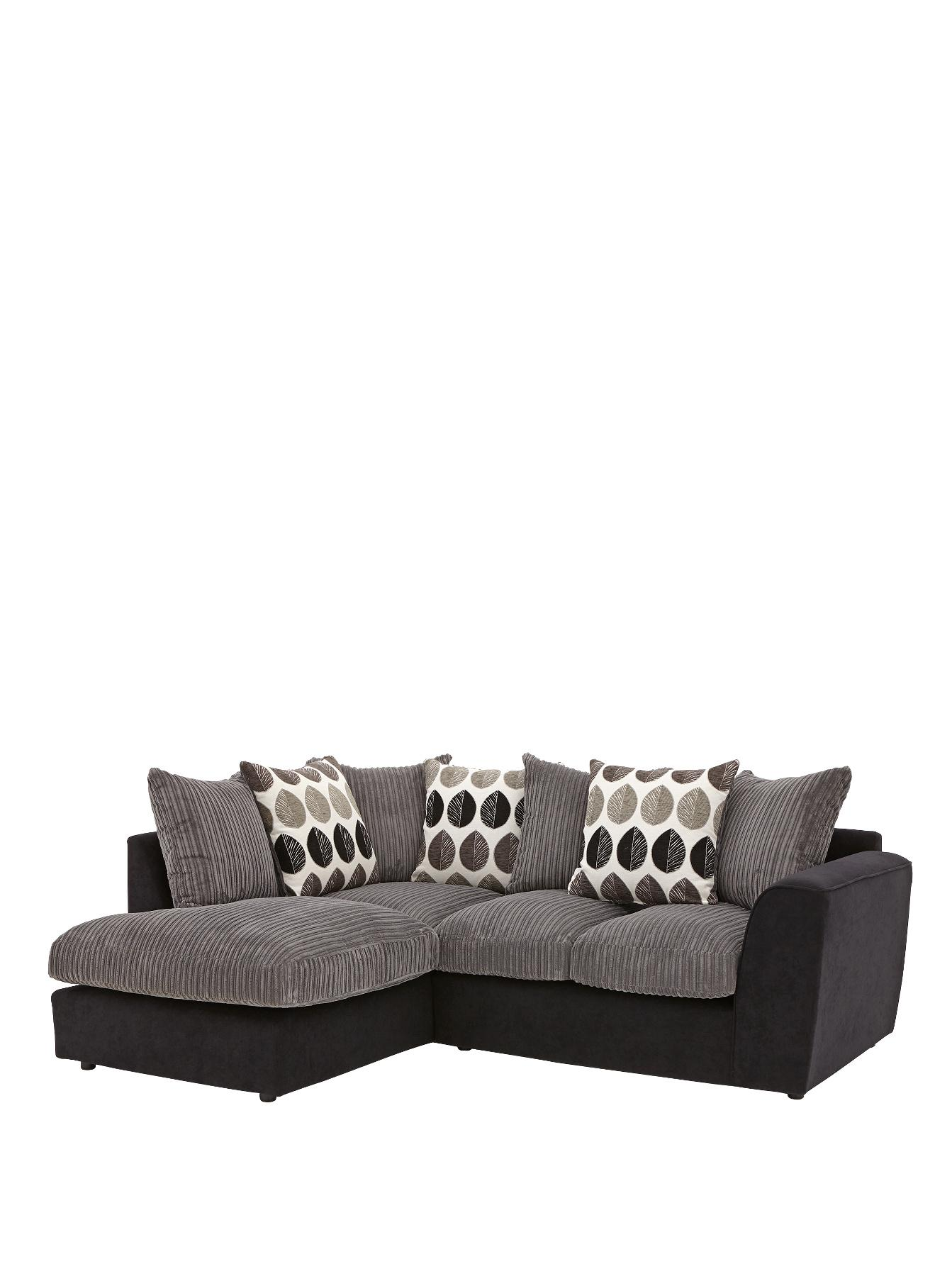 Ava Left Hand Corner Chaise Sofa - Grey, Grey,Black.