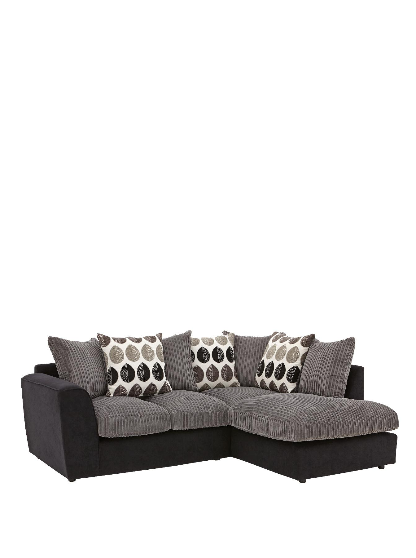 Ava Right Hand Corner Chaise Sofa - Black, Black,Grey
