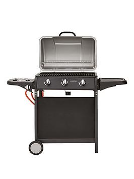 3 Burner Gas BBQ with Side Burner (Black)