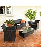 Palermo Wicker Conversation Set - Black
