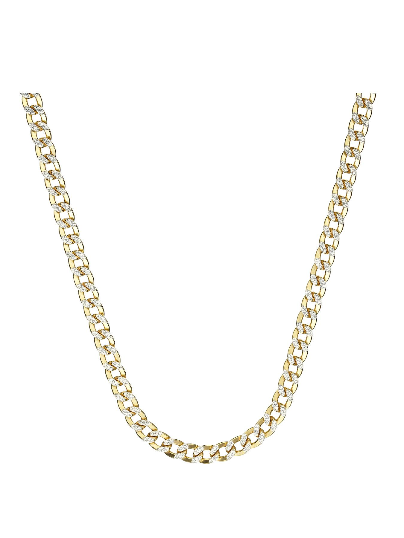 Sterling Silver and Yellow Gold Bonded Pave Curb Chain