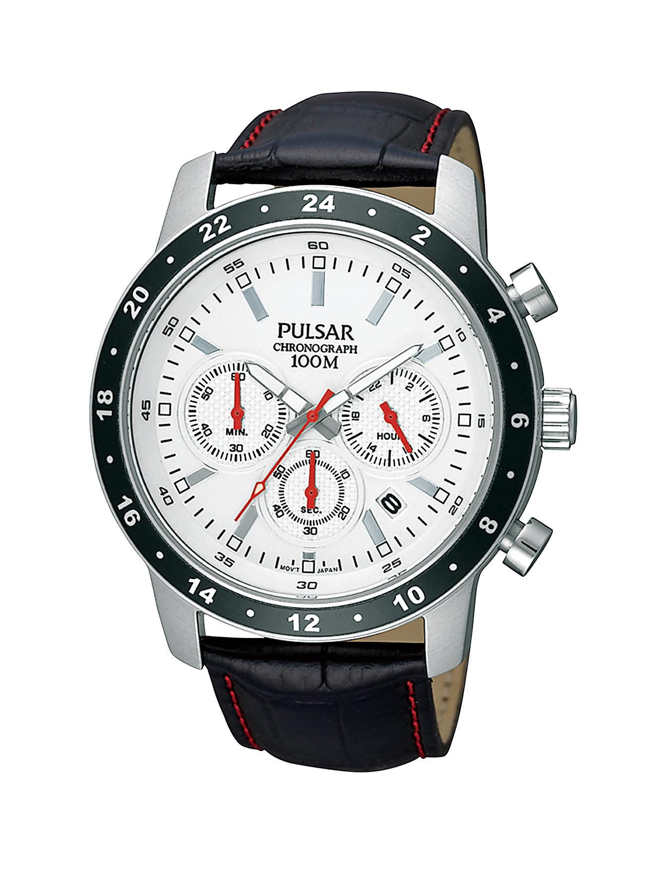 Pulsar Chronograph Leather Strap Mens Watch