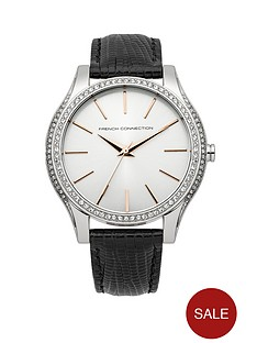 french-connection-silver-dial-maiden-black-leather-strap-ladies-watch