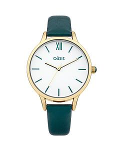 oasis-white-dial-green-leather-effect-strap-ladies-watch