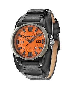 police-dayton-orange-dial-black-leather-strap-mens-watch