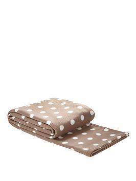 Spot Printed Fleece Blanket - Coffee