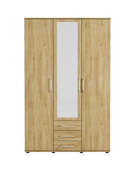 manhattan-3-door-3-drawer-mirrored-wardrobe
