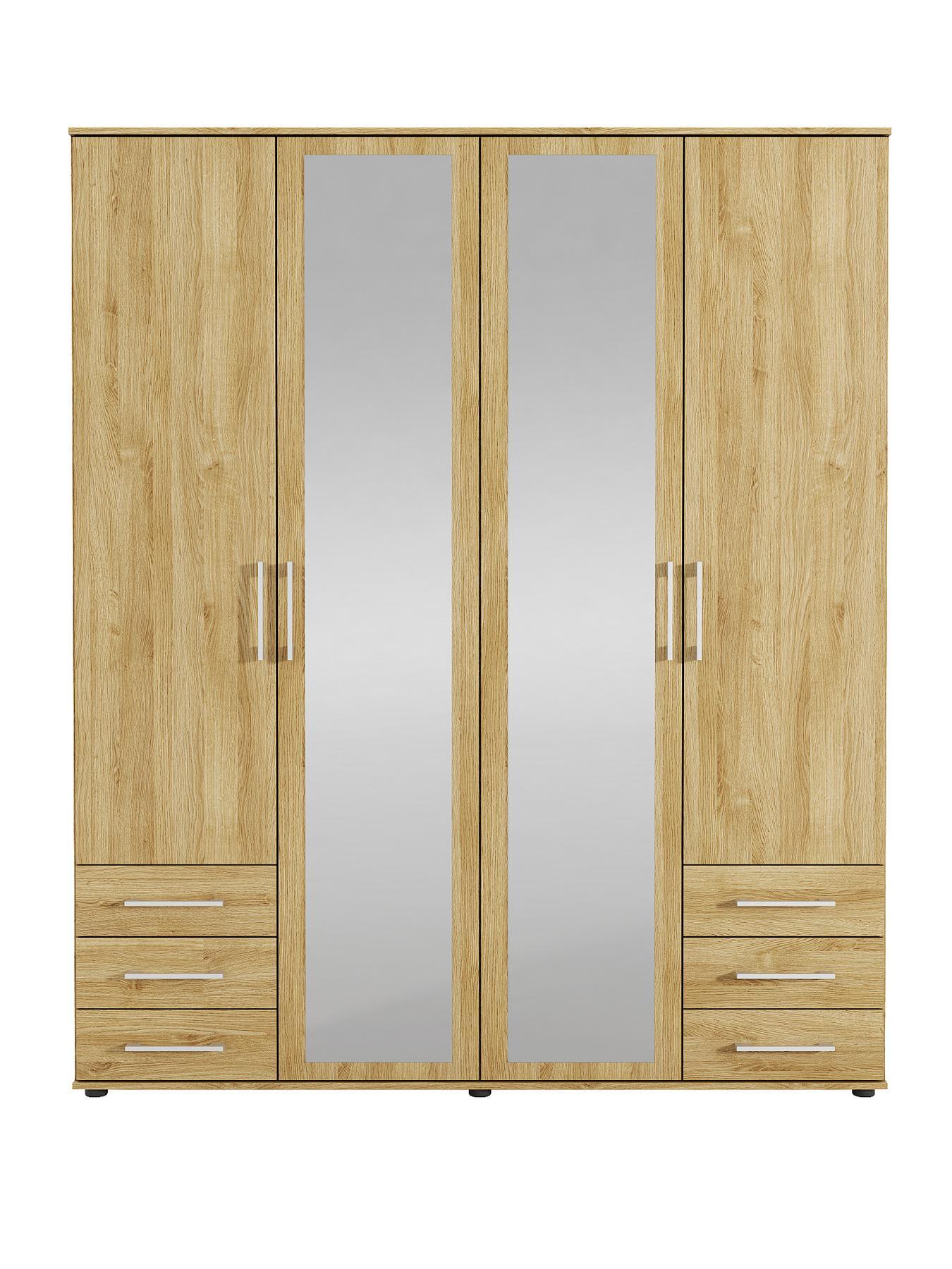 Manhattan 4-Door 6-Drawer Mirrored Wardrobe (New Oak)
