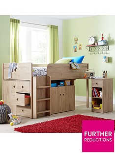 kidspace-finsbury-cabin-station-mid-sleeper-bed-with-desk-drawers-cupboard-and-optional-mattress