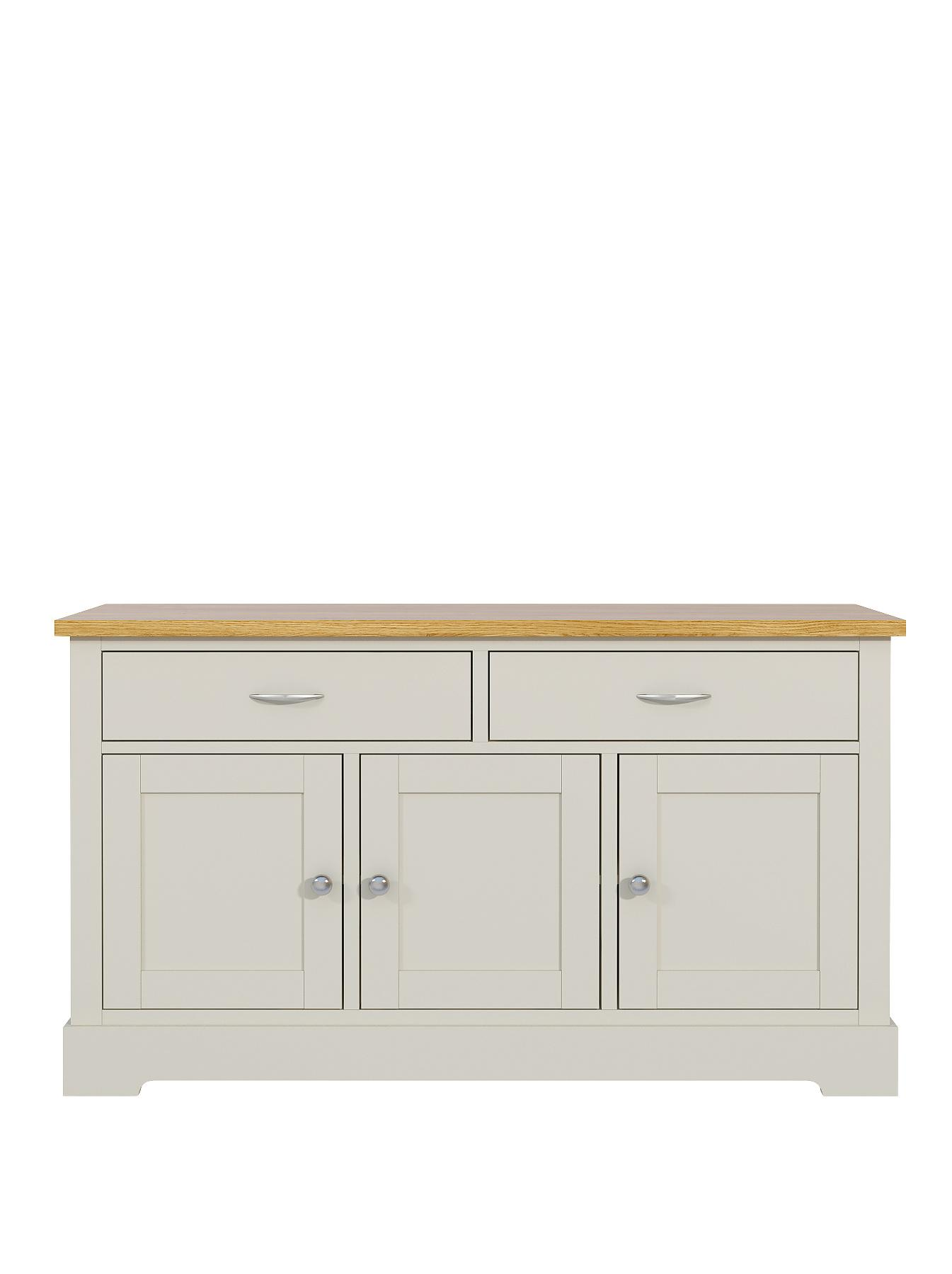 Holsworth Large 3-Door, 2-Drawer Sideboard - Grey, Grey
