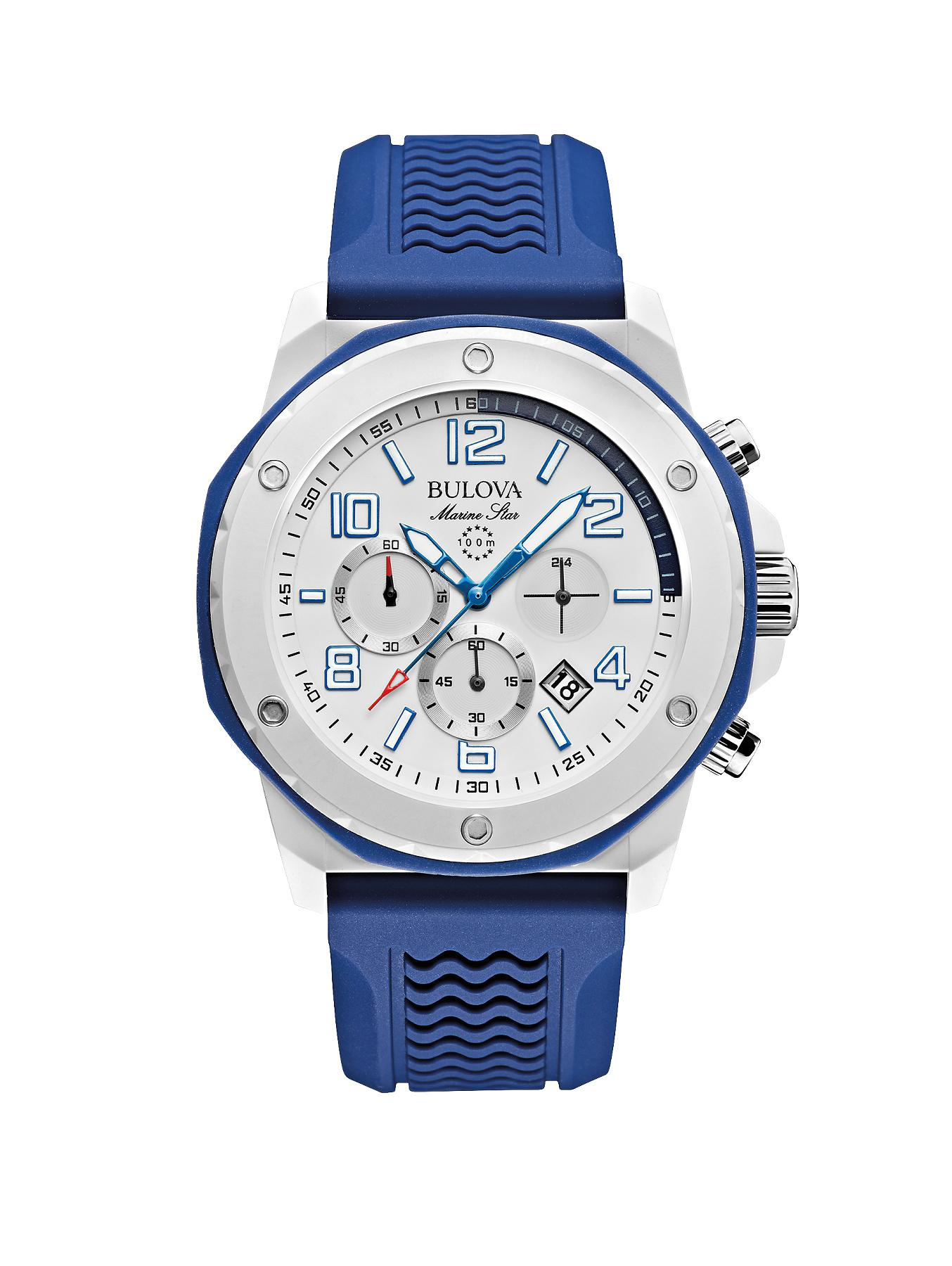 Bulova Marine Star Chronograph Blue Rubber Strap Mens Watch