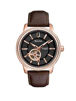 bulova-automatic-brown-leather-strap-mens-watch