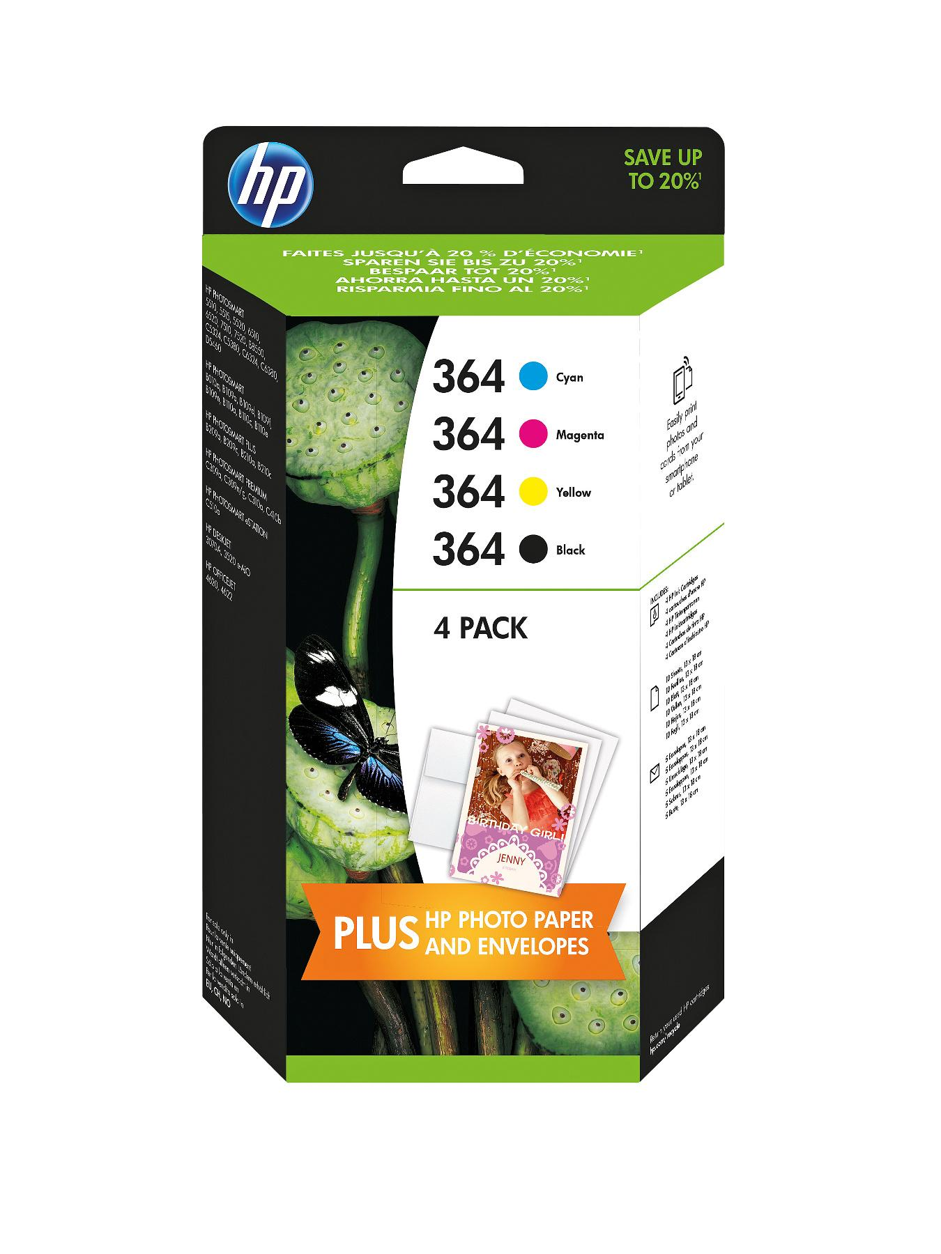 HP 364 Ink Cartridge Combo Pack (4 Pack)