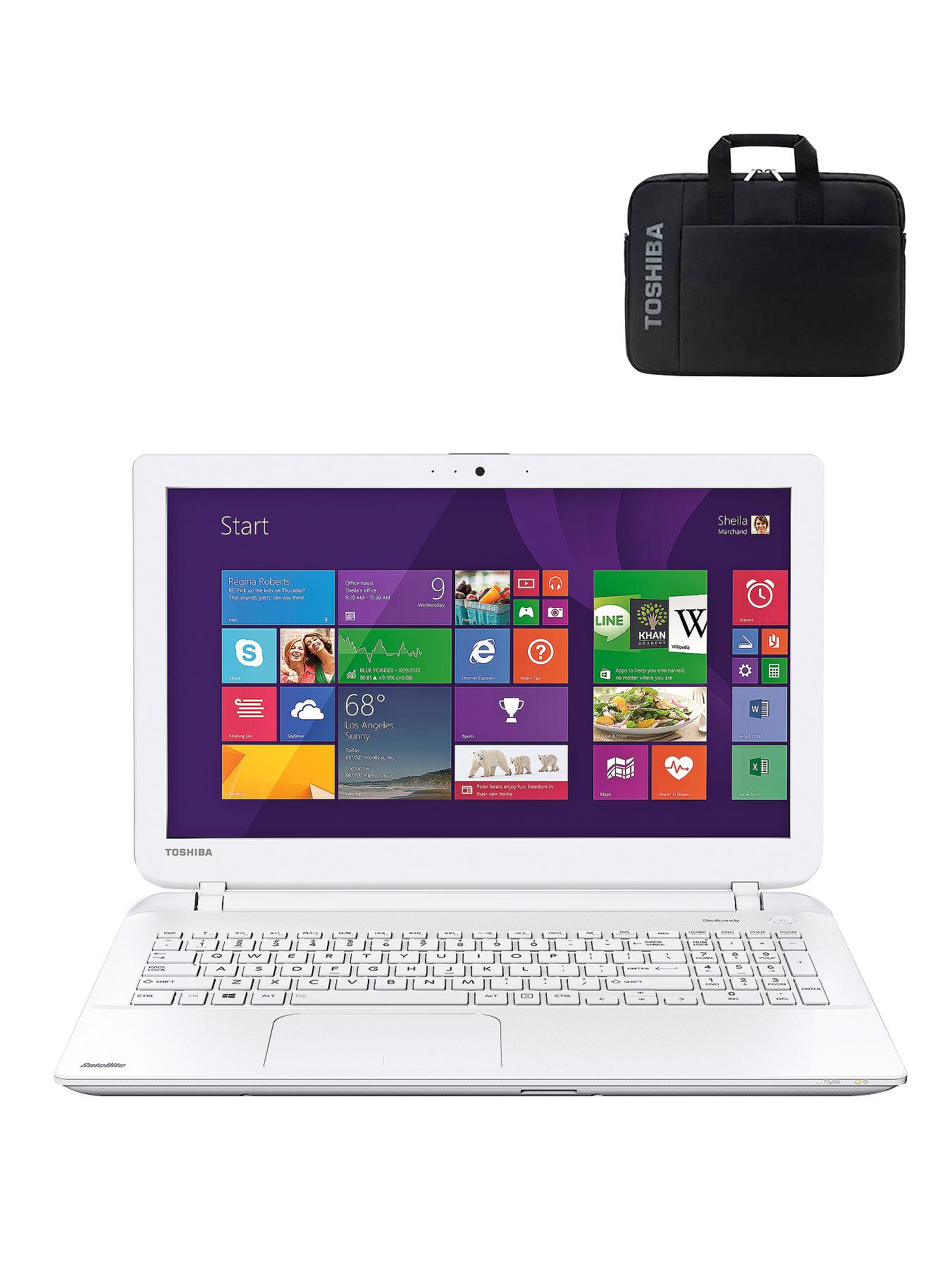 Toshiba L50D-B-16Q AMD E1 Processor, 6Gb RAM, 1Tb Hard Drive, Wi-Fi, 15.6 inch Laptop with FREE Laptop Bag - White