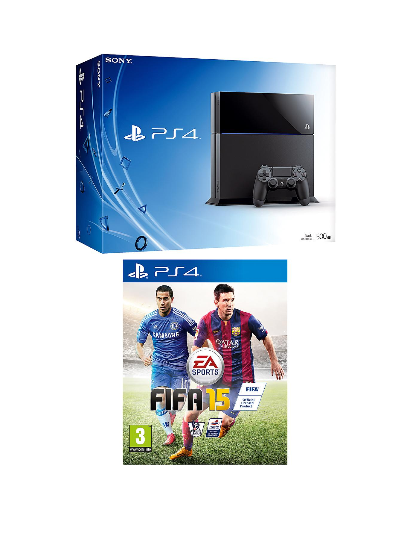Playstation 4 Console with FIFA 15 and Optional Dual Shock 4 Controller, 90 Day or 12 Months PlayStation Plus