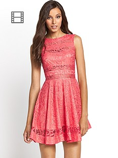 club-l-lace-panelled-skater-dress