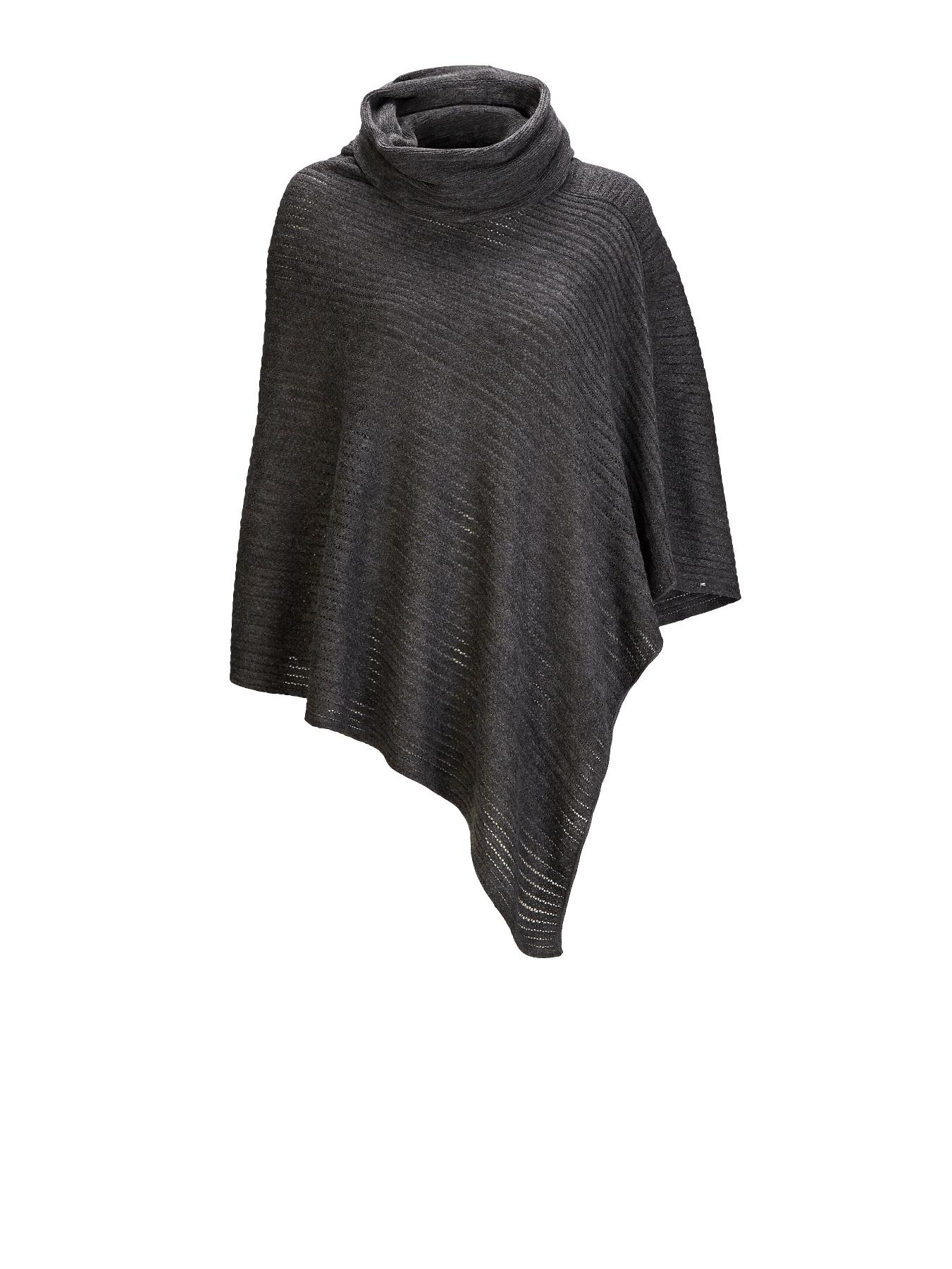 Cowl Neck Poncho Cape - Grey, Grey