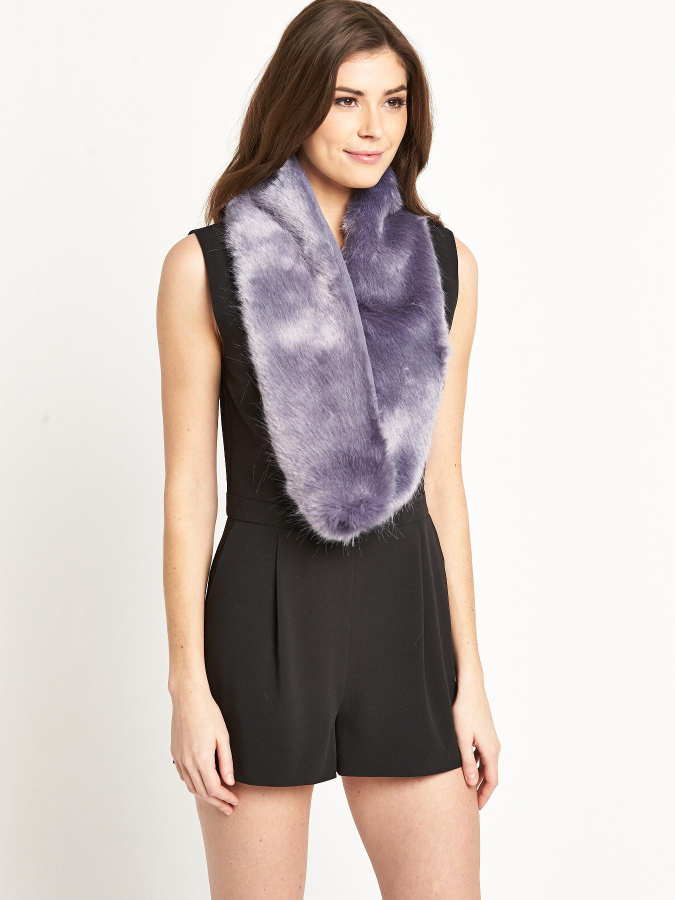 Pastel Blue Fur Collar - Blue, Blue