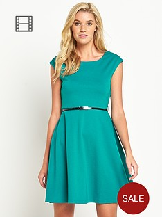 south-petite-ponte-belted-skater-dress