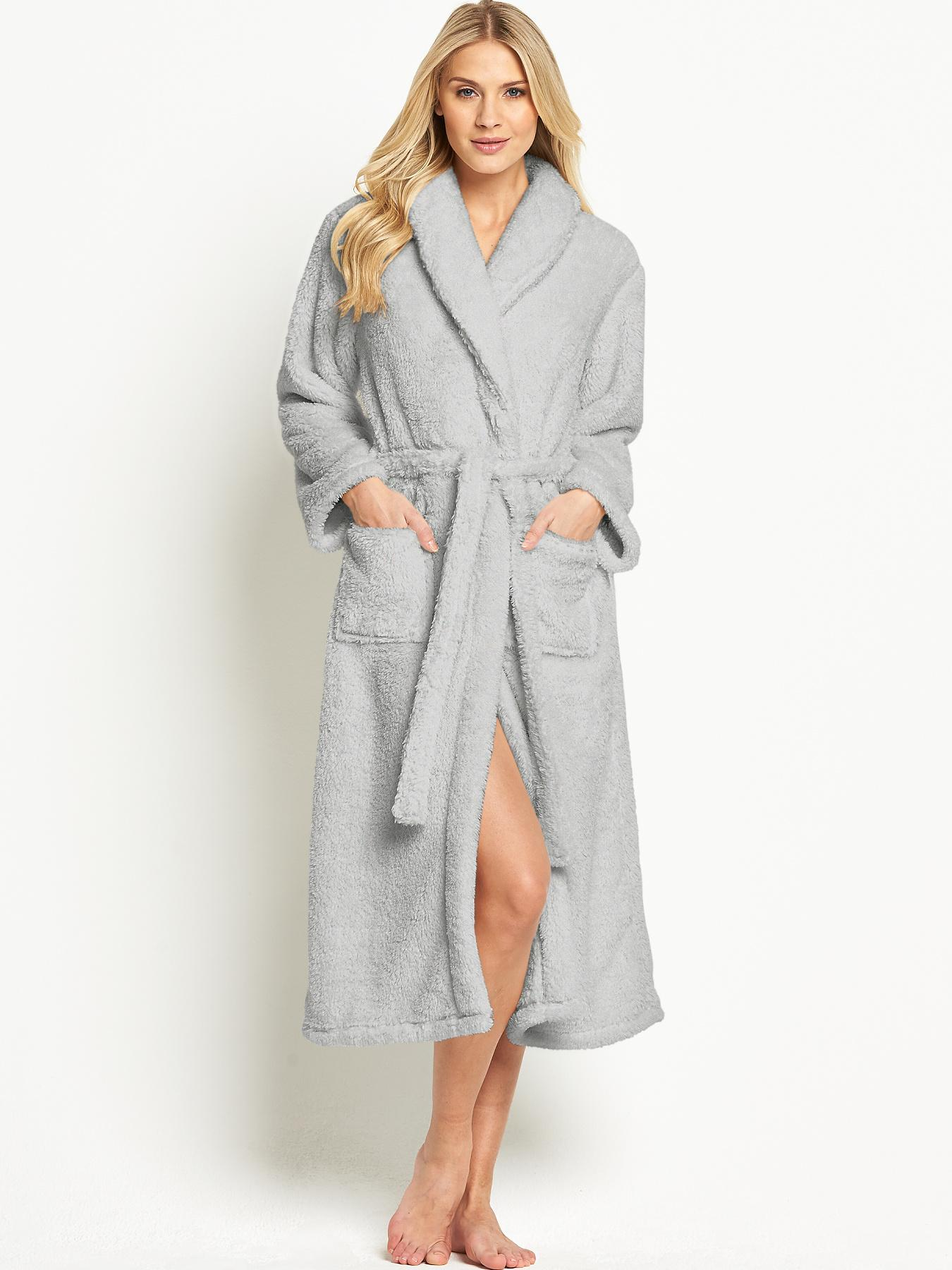Sorbet Super Soft Dressing Gown - Grey, Grey,Blue