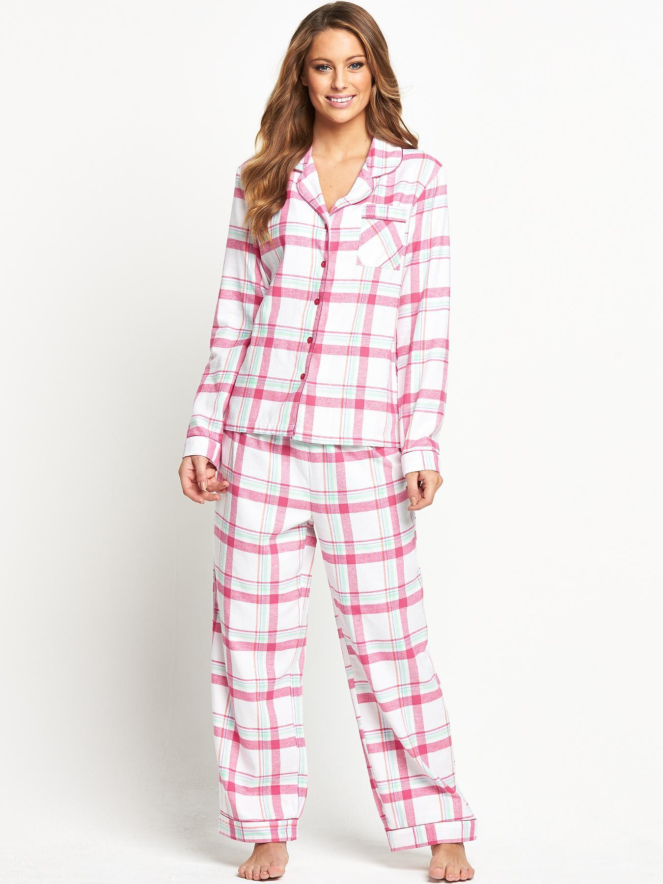 Sorbet Spring Check Flannel Pyjamas - White, White