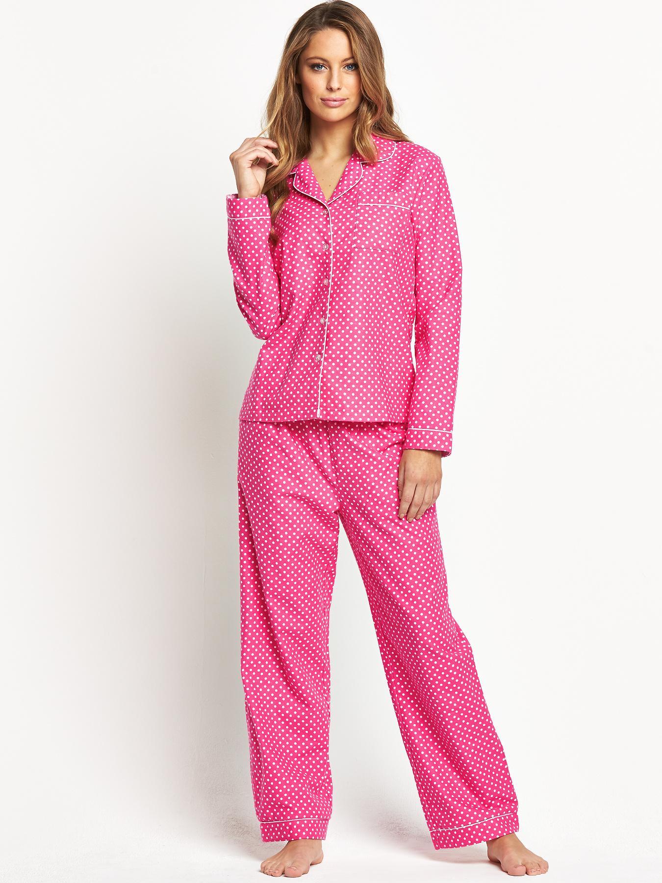 Sorbet Spring Spot Flannel Pyjamas - Pink, Pink