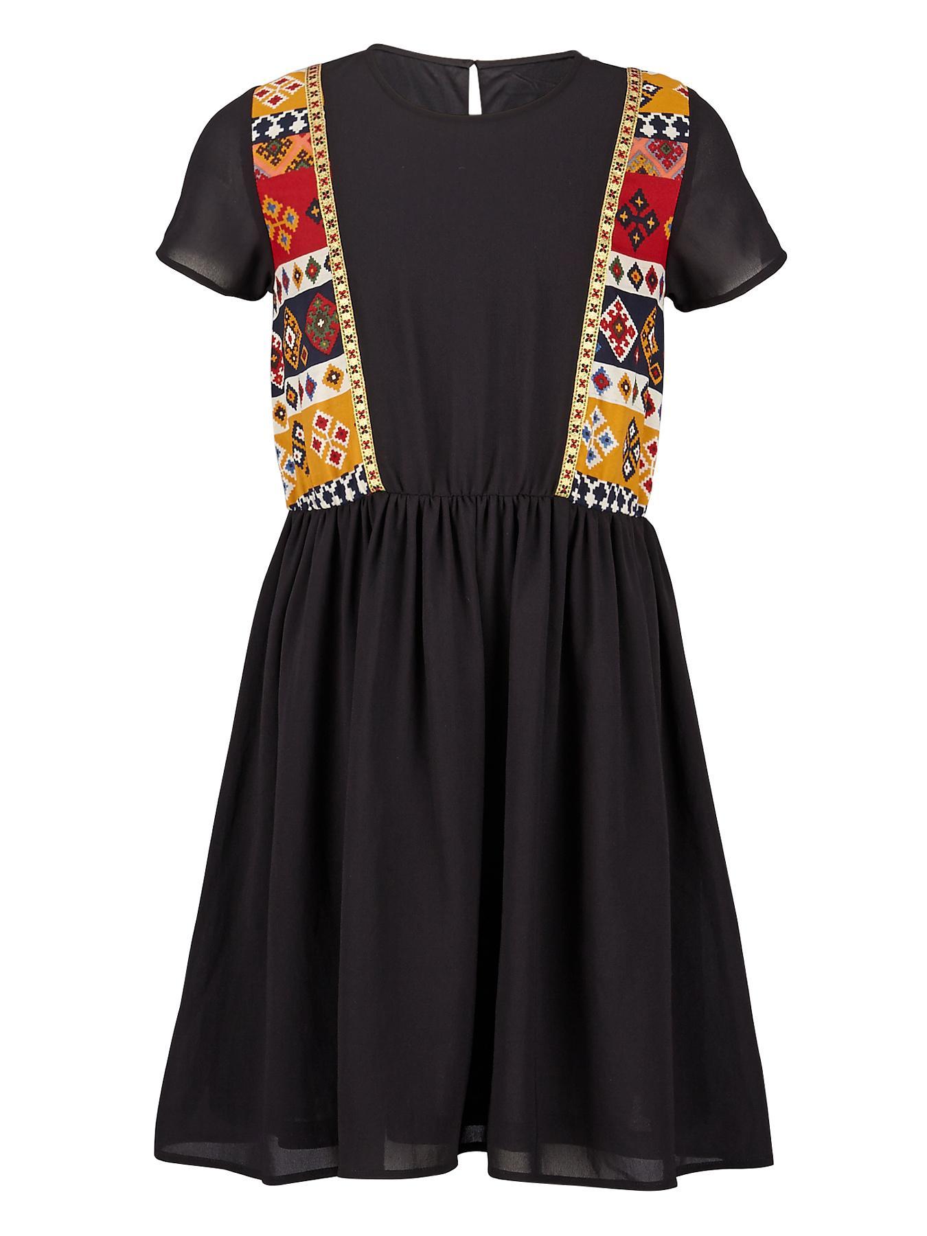 Freespirit Girls Folklore Embroidered Dress - Black, Black