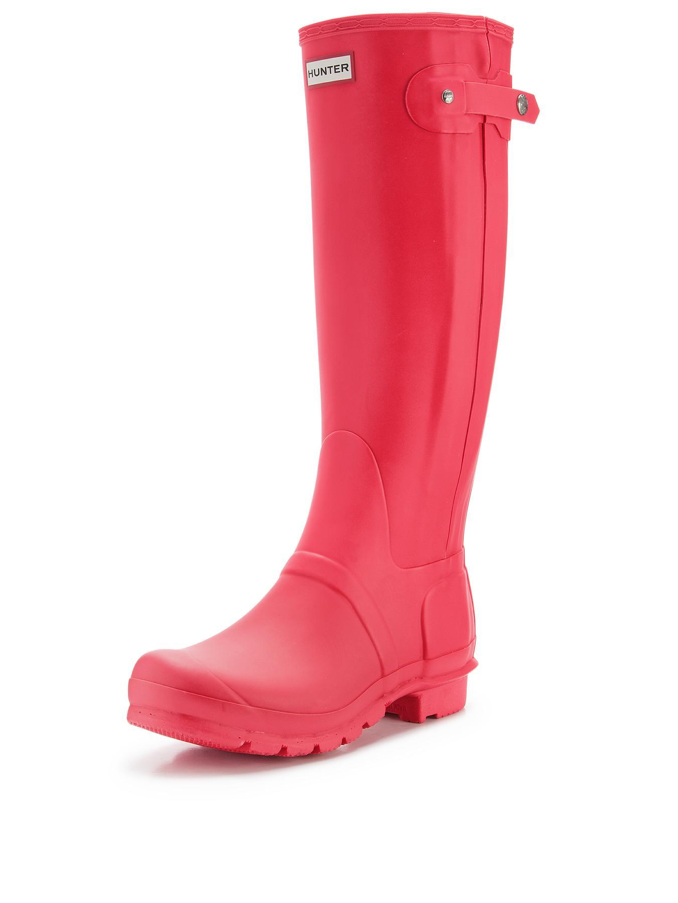 Hunter Original Slim Zip Wellys - Bright Coral - Coral, Coral