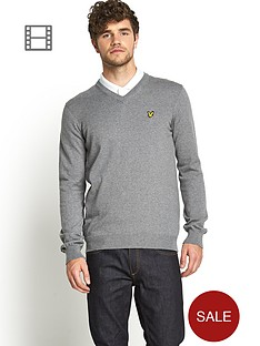 lyle-scott-mens-v-neck-jumper-mid-grey-marl