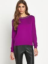 Sequin Shoulder Knitted Jumper