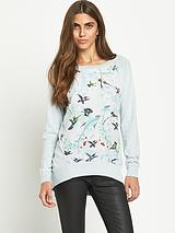 Woven Front Hummingbird Knitted Jumper