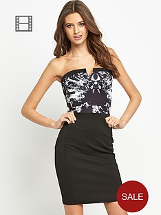 lipsy-printed-bandeau-dress