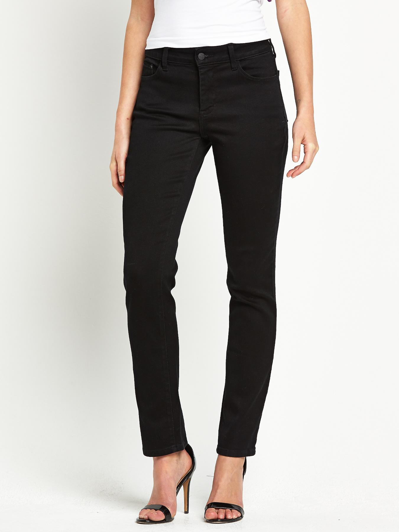 NYDJ High Waisted Super Stretch Skinny Leg Jeans - Black, Black