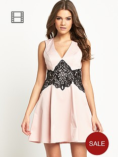 lipsy-crochet-lace-waist-skater-dress