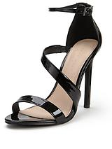 Paris Asymmetric Heeled Sandals - Black