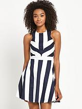 Stripe Cut Out Back Skater Dress