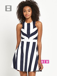 definitions-stripe-cut-out-back-skater-dress