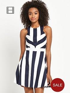 definitions-stripe-cut-out-back-skater-dress