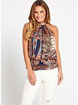 Paisley High Neck Top