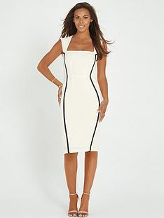 rochelle-humes-contrast-satin-insert-pencil-dress