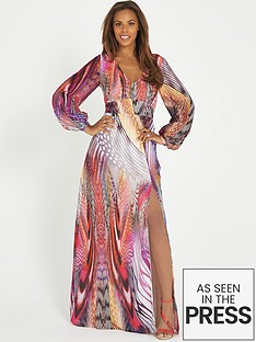 rochelle-humes-printed-long-sleeve-maxi-dress