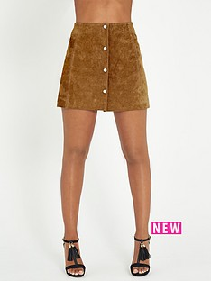 rochelle-humes-suede-button-through-a-line-mini-skirt