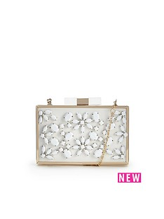 flower-embellished-hard-box-clutch-bag