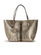 Snake Embossed Zip Detail Tote Bag